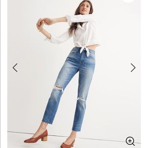 Madewell distressed high rise slim boy jean